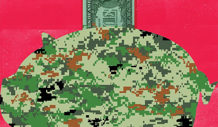 Illustration on financing the rebuild of the U.S. military by Linas Garsys/The Washington Times