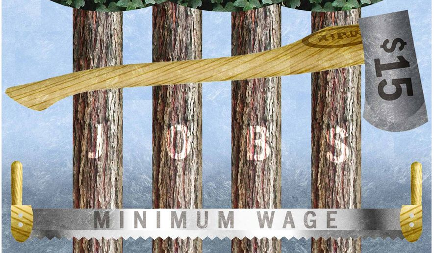 Illustration on the destructive effects of the $15 minimum wage by Alexander Hunter/The Washington Times