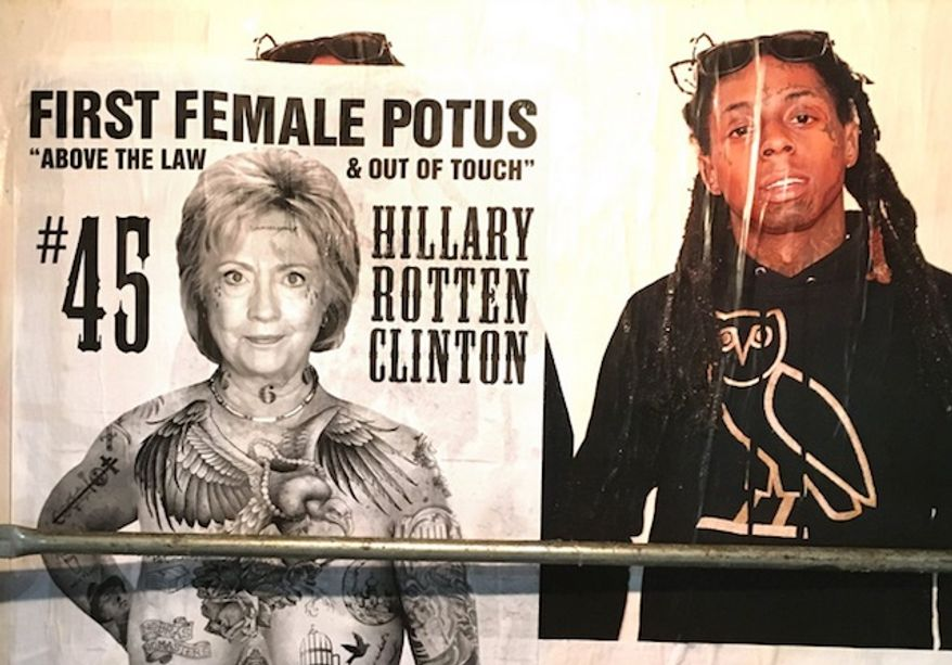 "The street artist known as Sabo covered Los Angeles with a piece on Hillary Clinton titled ""Above the Law & Out of Touch."" (Twitter, Unsavoryagents)"