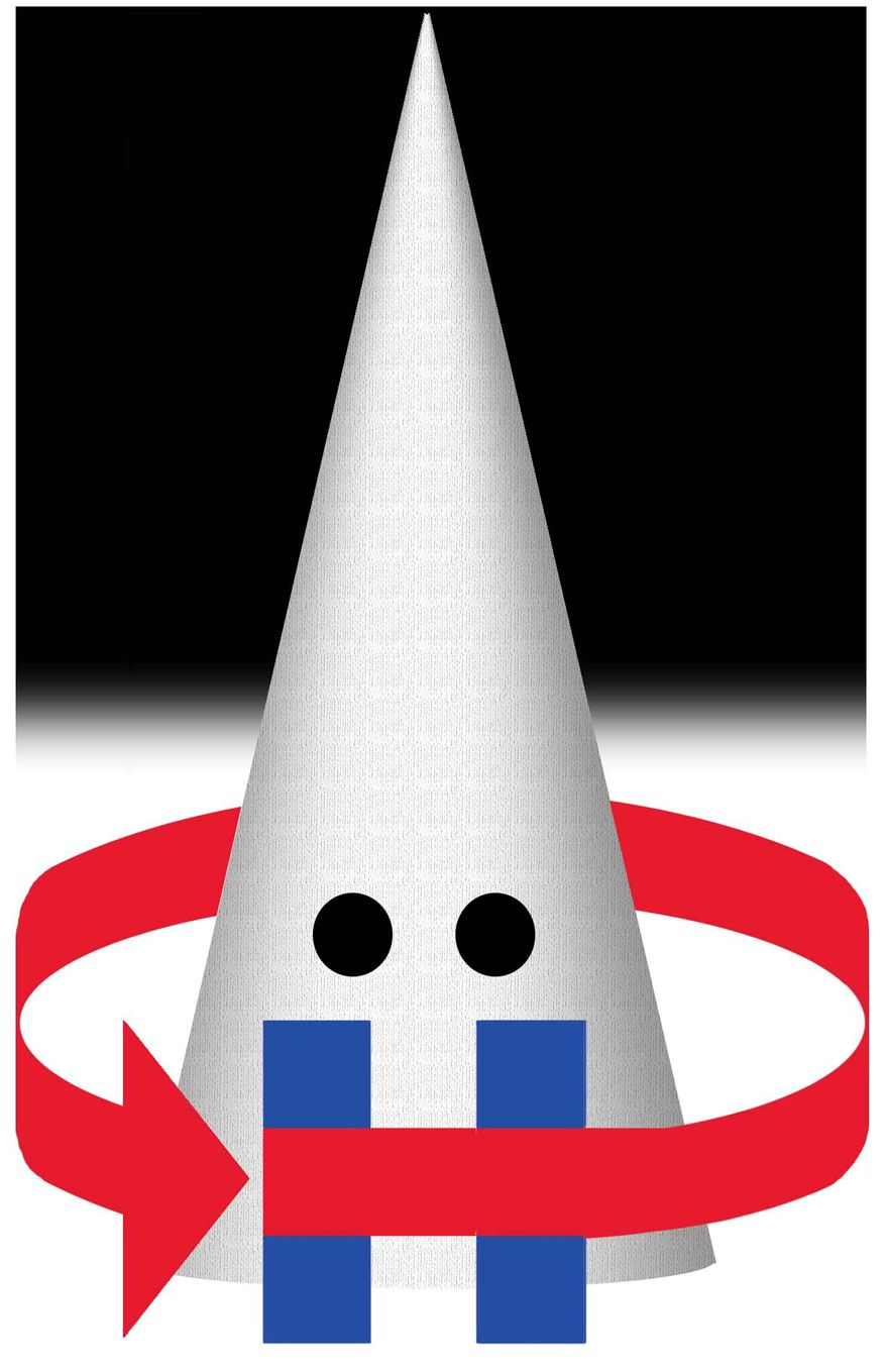 Illustration on Hillary, racism and the quadrennial spotlighting of the KKK for political advantage by Alexander Hunter/The Washington Times