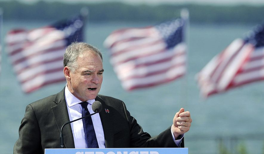 Democratic vice presidential nominee Tim Kaine speaks Tuesday, Aug. 30, 2016, during a campaign stop at the Bayfront Convention Center in Erie, Pa. Kaine is the running mate of Democratic presidential nominee Hillary Clinton and is the junior senator from Virginia. (Jack Hanrahan/Erie Times-News via AP)