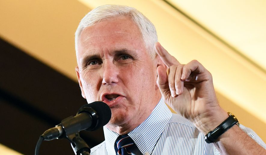 Republican vice presidential candidate Indiana Gov. Mike Pence speaks on Tuesday, Aug. 30, 2016 at the Dalton Convention Center. (Matt Hamilton/The Daily Citizen via AP)
