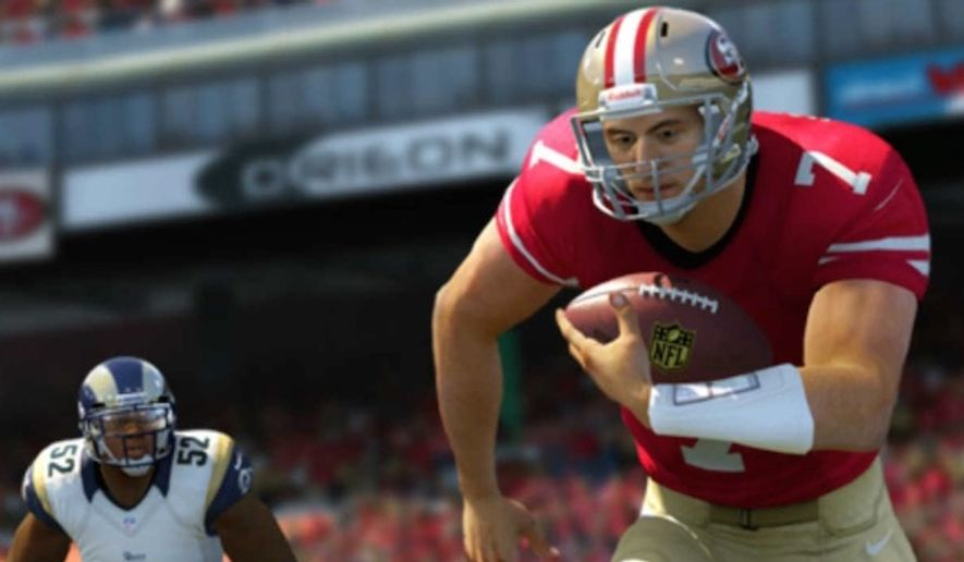 """NFL quarterback Colin Kaepernick's national anthem protest will make it into the long-running """"Madden"""" video game by EA Sports. (EA Sports screenshot)"""