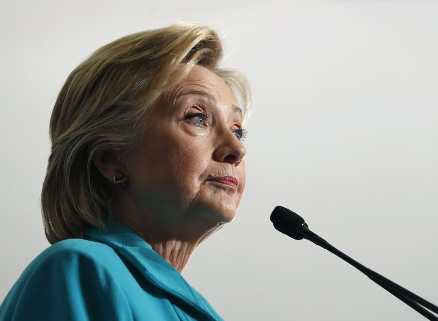 In this Thursday, Aug. 25, 2016, file photo, Democratic presidential candidate Hillary Clinton pauses as she speaks at a campaign event at Truckee Meadows Community College, in Reno, Nev. (AP Photo/Carolyn Kaster, File) ** FILE **