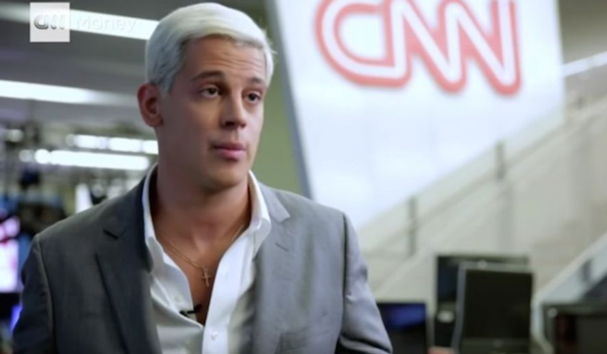 "Breitbart News's Milo Yiannopoulos is depicted in this screenshot from CNN. Mr. Yiannopoulos's forthcoming book, ""Dangerous,"" has shot to the top of Amazon's best-seller list after liberal celebrities called for a boycott of publisher Simon & Schuster. (CNN screenshot) **FILE**"