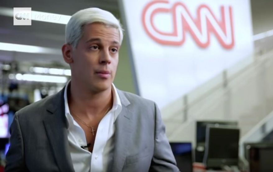 """Breitbart News's Milo Yiannopoulos is depicted in this screenshot from CNN. Mr. Yiannopoulos's forthcoming book, """"Dangerous,"""" has shot to the top of Amazon's best-seller list after liberal celebrities called for a boycott of publisher Simon & Schuster. (CNN screenshot) **FILE**"""