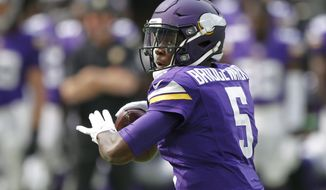FILE - In this Aug. 28, 2016, file photo, Minnesota Vikings quarterback Teddy Bridgewater throws a pass during the first half of an NFL preseason football game against the San Diego Chargers, in Minneapolis. Fittingly, the Green Bay Packers will be the opponent on Sept. 18 for their regular season opener at U.S. Bank Stadium in front of a crowd of 66,000 and a Sunday night national television audience.(AP Photo/Andy Clayton-King, File) **FILE**