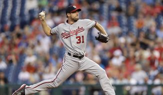 Washington Nationals' Max Scherzer pitches during the first inning of a baseball game against the Philadelphia Phillies, Tuesday, Aug. 30, 2016, in Philadelphia. (AP Photo/Matt Slocum)