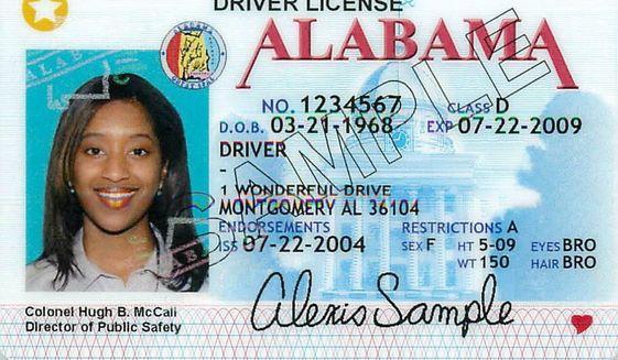 Sample Alabama driver's license image, via AL.com. **FILE**