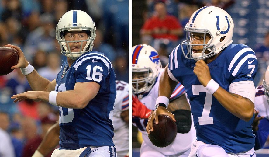 FILE - At left, in an Aug. 13, 2016, file photo, Indianapolis Colts quarterback Scott Tolzien (16) passes against the Buffalo Bills during the first half of a preseason NFL football game, in Orchard Park, N.Y. At right, also in an Aug. 13, 2016, file photo, Colts quarterback Stephen Morris (7) scrambles against the Buffalo Bills during the second half of the preseason NFL football game, in Orchard Park, N.Y. Tolzien and Morris are expected to take all of the snaps in Thursday night's preseason finale at Cincinnati. If all goes as planned, it may be the last snaps they take this season _ and both want to make it count. (AP Photo/File)