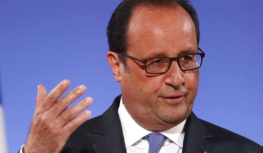 French President Francois Hollande gestures as he addresses French ambassadors, Tuesday Aug. 30, 2016 in Paris. (AP Photo/Francois Mori, Pool)