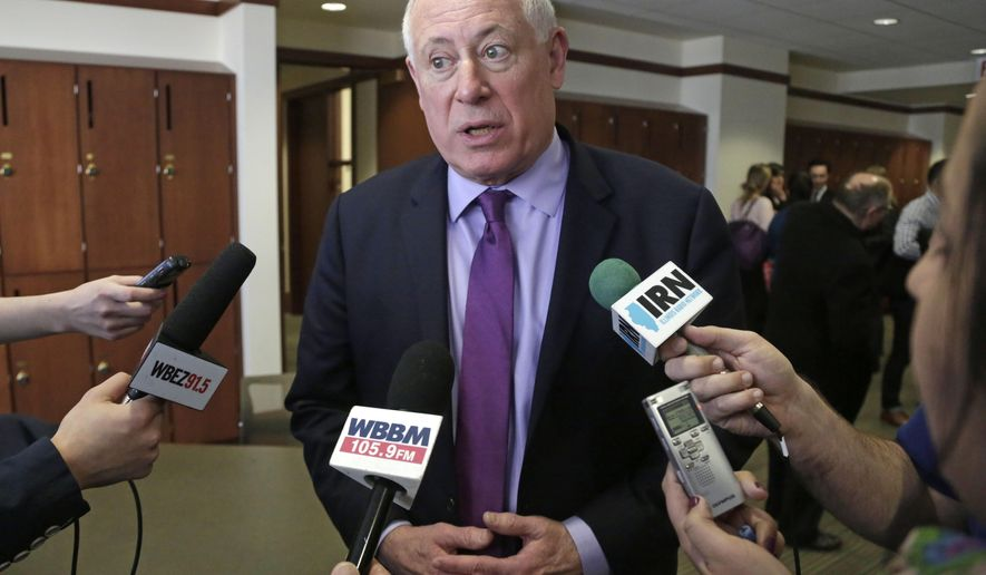 FILE - In this Feb. 27, 2015 file photo, Former Gov. Pat Quinn speaks with the media in Chicago. Quinn is pitching a redistricting plan he says will meet constitutional muster. The Democrat proposed an 11-member commission appointed by the Illinois Supreme Court in a plan Tuesday, Aug. 30, 2016. The plan comes days after the high court rejected a petition-driven ballot measure that would've also given allowed a commission to draw legislative boundaries instead of elected officials. (AP Photo/M. Spencer Green, File)