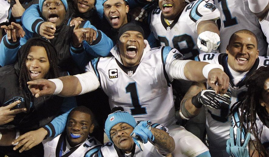 FILE - In this Jan. 24, 2016, file photo, Carolina Panthers' Cam Newton celebrates with teammates during the second half the NFL football NFC Championship game against the Arizona Cardinals in Charlotte, N.C. For the first time since the NFL created its current divisional structure back in 2002, there is talk of a potential dynasty in the NFC South. None of the division's four teams managed even two straight first-place finishes until the Carolina Panthers did it in 2013 and 2014. Last season, the Panthers made it three straight and advanced to the Super Bowl. (AP Photo/Chuck Burton, File)