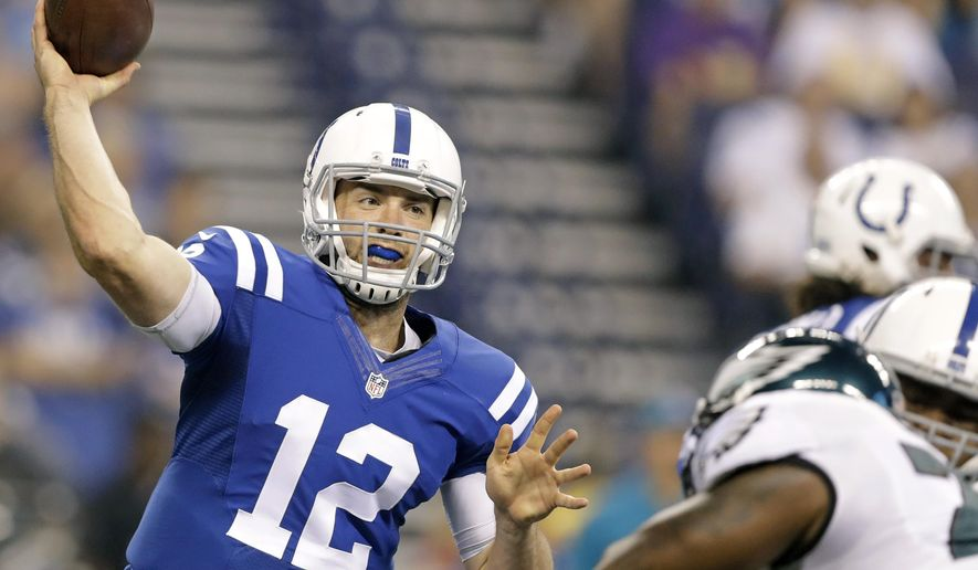 FILE - This Saturday, Aug. 27, 2016 file photo shows Indianapolis Colts quarterback Andrew Luck (12) throwing against the Philadelphia Eagles during the first half of an NFL preseason football game in Indianapolis. Luck returns for the Colts, and so do postseason expectations for a team that has made the playoffs 14 of the past 17 seasons. (AP Photo/Darron Cummings, File)