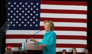 Democratic presidential candidate Hillary Clinton said that having Donald Trump in the White House will antagonize America's enemies and push away U.S. allies. (Associated press)
