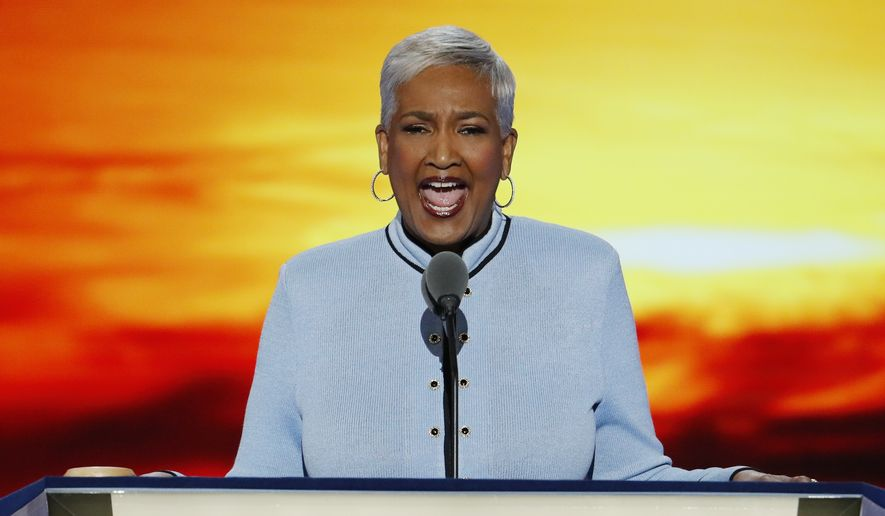 Dr. Cynthia Hale, Pastor of the Ray of Hope Christian Church in Decatur, Ga., delivers the invocation during the first day of the Democratic National Convention in Philadelphia , Monday, July 25, 2016. (AP Photo/J. Scott Applewhite) **FILE**
