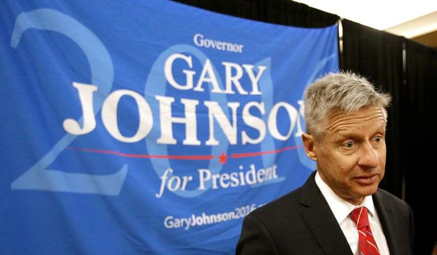 Libertarian presidential candidate Gary Johnson speaks at the National Libertarian Party Convention in Orlando, Fla., in this May 27, 2016, file photo. (AP Photo/John Raoux, File)