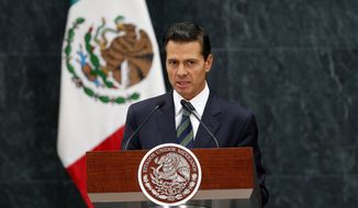Mexico's President Enrique Pena Nieto speaks during a a joint statement with Republican presidential nominee Donald Trump in Mexico City, Wednesday, Aug. 31, 2016. (AP Photo/Dario Lopez-Mills)