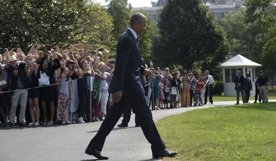 President Barack Obama walks towards Marine One on the South Lawn of the White House in Washington, Wednesday, Aug. 31, 2016. Obama is leaving for his last trip to Asia as U.S. president, with stops in China and Laos. (AP Photo/Susan Walsh)