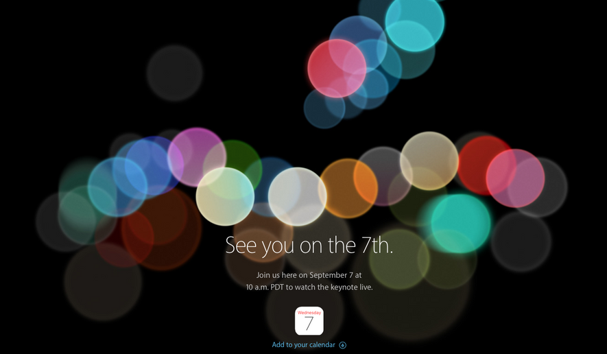 A promotion for the September 7, 2016 news conference in which Apple is rumored to announce a new iteration of its iPhone smartphone. Screen capture from Apple.com.