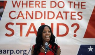 U.S. Rep. Mia Love, R-Utah, who is running against Democrat Doug Owens for Utah's 4th Congressional District, speaks during an AARP-sponsored candidates' event Wednesday, Aug. 31, 2016, in Salt Lake City. Some of the candidates for Utah's most heated political races made their pitch to retirees Wednesday night at an AARP barbeque in Salt Lake City. (AP Photo/Rick Bowmer)