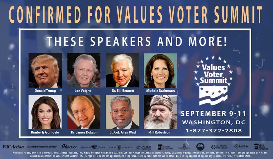 Confirmed speakers for the 2016 Values Voters Summit.