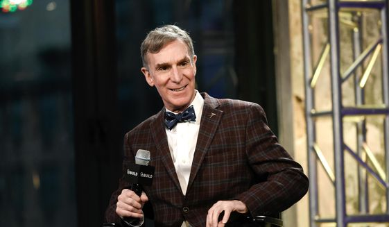 "In this Dec. 17, 2015, photo, Bill Nye, the Science Guy, participates in AOL's BUILD Speaker Series to discuss his new book, ""Unstoppable: Harnessing Science To Change The World,"" at AOL Studios, in New York. (Photo by Evan Agostini/Invision/AP) **FILE**"