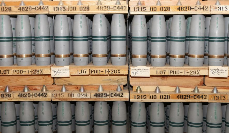 FILE- In this Jan. 21, 2010, file photo, 105mm shells are shown that contain mustard agent where they are stored in a bunker at the Army's Pueblo Chemical Storage facility in Pueblo, Colo. On Wednesday, Aug. 31, 2016, the U.S. Army said it plans to start operating a $4.5 billion plant next week that will destroy the nation's largest remaining stockpile of mustard agent, complying with an international treaty banning chemical weapons. (AP Photo/Ed Andrieski, File)