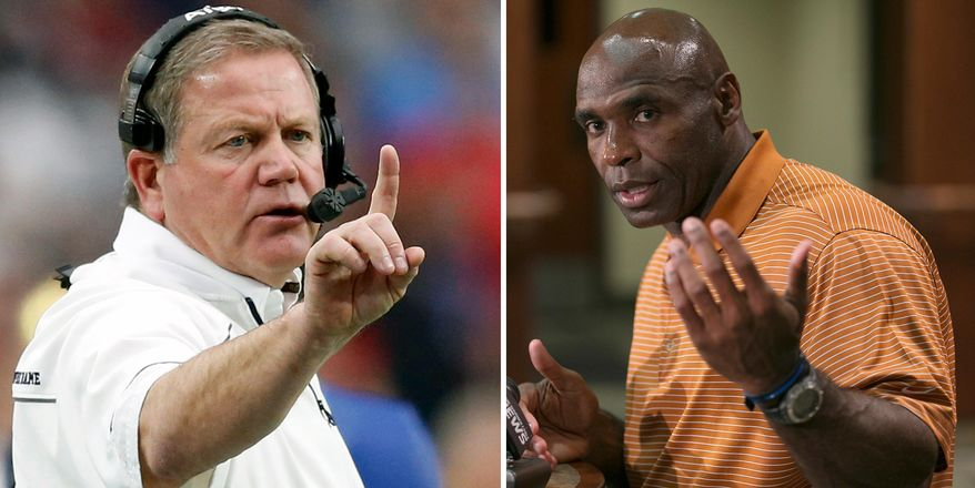 FILE - At left, in a Jan. 1, 2016, file photo, Notre Dame head coach Brian Kelly makes a call during the first half of the Fiesta Bowl NCAA College football game against Ohio State in Glendale, Ariz. At right, in an Aug. 5, 2016, file photo, Texas football coach Charlie Strong talks about the upcoming season, in Austin, Texas. Now this is the way to start the college football season. Texas vs. Notre Dame. (Ralph Barrera/Austin American-Statesman via AP)