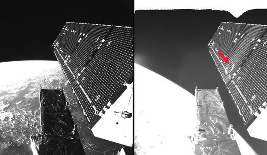 This undated combination photo provided by the European Space Agency ESA shows Sentinel-1A's solar array before and after the impact of a millimeter-size particle on the second panel. ESA says a tiny particle has knocked a gaping hole in a solar panel on one of its Earth observation satellites. The agency said Wednesday, Aug. 31, 2016, that the Copernicus Sentinel-1A satellite was hit by an unknown particle just a few millimeters big on Aug. 23. (ESA via AP)