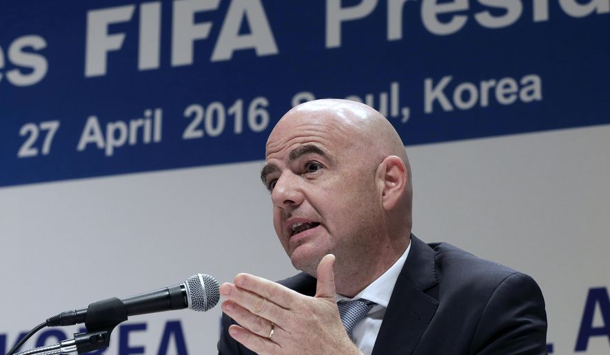 FILE - In this Wednesday, April 27, 2016 file photo, FIFA President Gianni Infantino speaks during a press conference in Seoul, South Korea. FIFA President Gianni Infantino has agreed an annual salary of 1.5 million Swiss francs ($1.53 million) with no bonus in 2016, seeking to end a distracting issue of his first six months in office. FIFA said Infantino will also receive a chauffeured car, his lodgings paid, plus monthly expenses of 2,000 Swiss francs ($2,040), in the contract agreed with a three-member compensation panel and signed Wednesday, Aug. 31, 2016. (AP Photo/Ahn Young-joon, file)