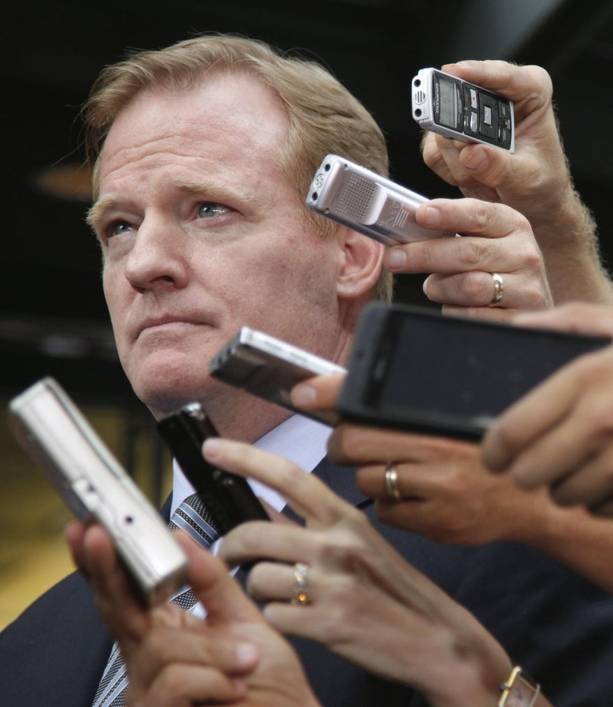 """FILE - In this July 25, 2011, file photo, NFL football Commissioner Roger Goodell participates in a news conference at the NFL Players Association in Washington, after the NFL Players Association executive board and 32 team reps voted unanimously to approve the terms of a deal with owners to the end a lockout. A few years into Goodell's tenure as NFL commissioner, a grad school professor polled students on who was the most effective leader in the major sports. Goodell romped.  That was before the league locked out the players in 2011. Before the Saints' bounties scandal. Before the behavior of Ray Rice and Adrian Peterson _ and so many others _ led to a stricter player conduct policy.  Before game officials were locked out. Before Tom Brady's suspension in """"Deflategate."""" And before issues over head trauma and concussions brought player safety questions to the forefront. (AP Photo/Carolyn Kaster, File)"""