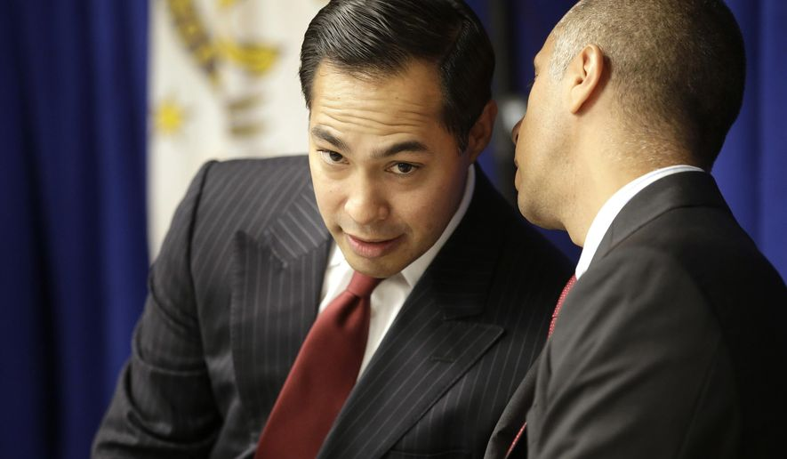U.S. Department of Housing and Urban Development Secretary Julian Castro, left, listens to Providence, R.I. Mayor Jorge Elorza, right, at the start of a news conference, Wednesday, Aug. 31, 2016, in Providence. Castro proposed new rules Wednesday to lower the level of lead detected in children's blood that triggers federal action to clean up the homes where they live. (AP Photo/Steven Senne)