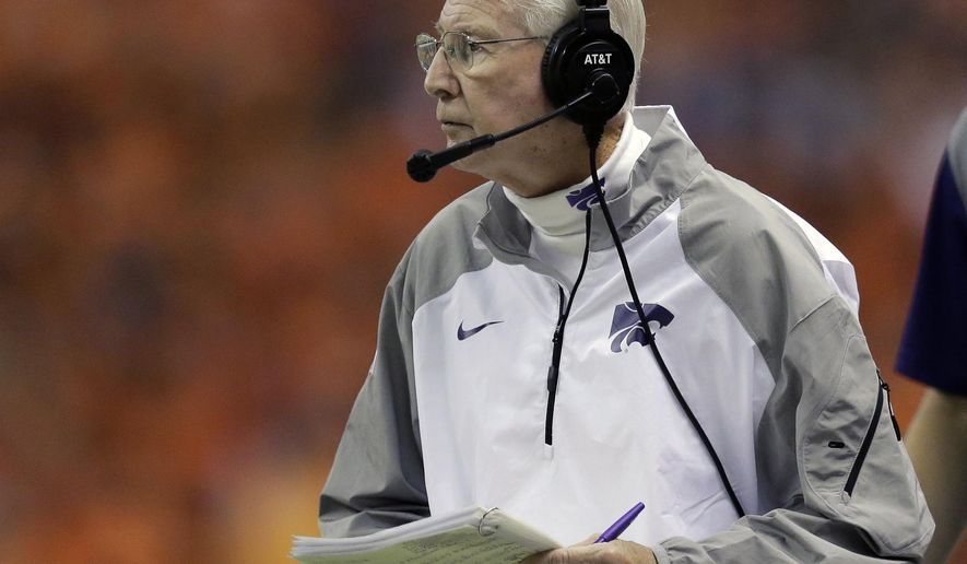 FILE - In this Sept. 12, 2015, file photo, Kansas State head coach Bill Snyder watches from the sideline during the first half of an NCAA college football game against UTSA, in San Antonio. Kansas State has earned a reputation for soft scheduling under Bill Snyder, but it doesn't get much tougher than the Wildcats' opener this year. They face No. 8 Stanford on Friday night. (AP Photo/Eric Gay, File)
