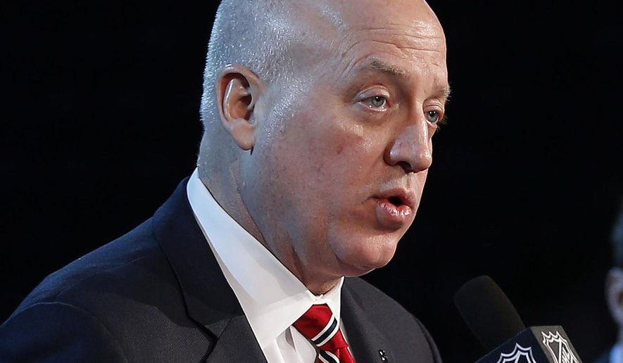 FILE - In this Oct. 23, 2016, file photo, NHL Deputy Commissioner Bill Daly speaks during a press conference in Winnipeg. The NHL has added meldonium to its list of banned substances. Deputy commissioner Daly confirmed the addition in an email to The Associated Press on Wednesday, Aug. 31, 2016. (John Woods/The Canadian Press via AP, File)