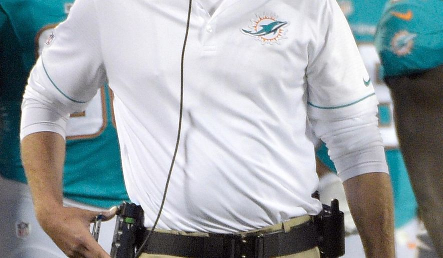 FILE - In this Aug. 25, 2016, file photo, Miami Dolphins head coach Adam Gase watches during the first half of an NFL preseason football game against the Atlanta Falcons in Orlando, Fla. (AP Photo/Phelan M. Ebenhack, File)