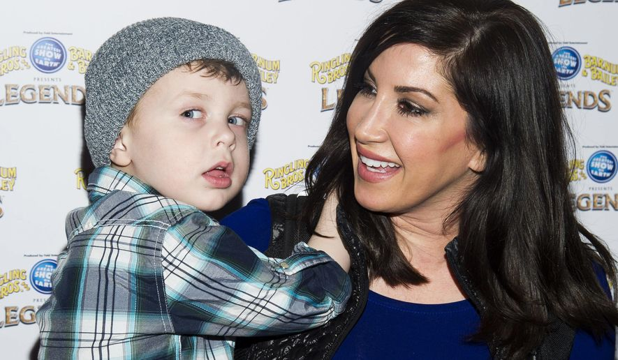 FILE - In this Feb. 20, 2014, file photo, Jacqueline Laurita and her son Nicholas attend the Ringling Bros. and Barnum & Bailey Present Legends circus in New York. Laurita's daughter, Ashlee Holmes gave birth to her first child, a boy, on Tuesday, Aug. 30, 2016. (Photo by Charles Sykes/Invision/AP, File)
