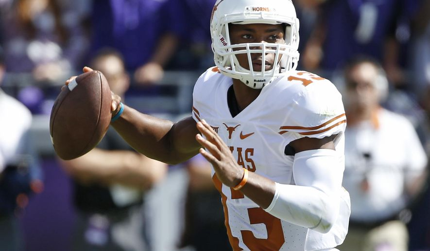FILE - In this Oct. 3, 2015, file photo, Texas quarterback Jerrod Heard (13) looks to throw in the first quarter against TCU in an NCAA college football game, in Fort Worth, Texas. The Texas quarterback competition dominating Longhorns training camp has lacked a particular ingredient: juice. Or more specifically, Jerrod Heard. (AP Photo/Ron Jenkins, File)