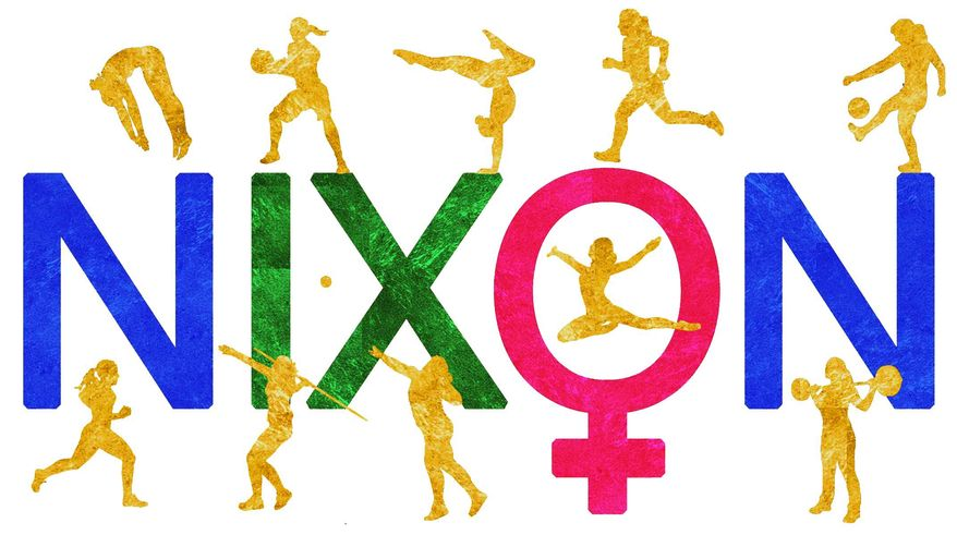 Illustration on Nixon's support of Title IX and the subsequent growth of women's sports by Alexander Hunter/The Washington Times
