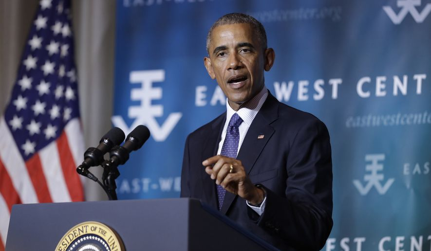 President Barack Obama speaks to the 2016 Pacific Islands Conference of Leaders at the East West Center, in Honolulu, Wednesday, Aug. 31, 2016. (AP Photo/Carolyn Kaster)