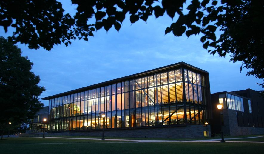 The David Bishop Skillman Library, located on Lafayette College's Campus in Easton, Pa., glows in the dusk light July 17, 2007. (Associated Press) **FILE**
