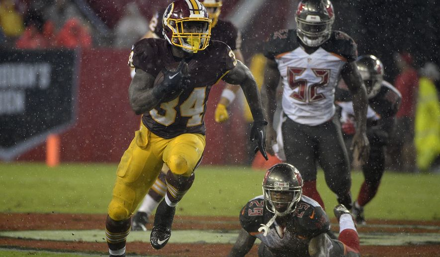Washington Redskins running back Mack Brown (34) runs 60-yards for a touchdown against the Tampa Bay Buccaneers during the second quarter of an NFL preseason football game Wednesday, Aug. 31, 2016, in Tampa, Fla. (AP Photo/Phelan M. Ebenhack)