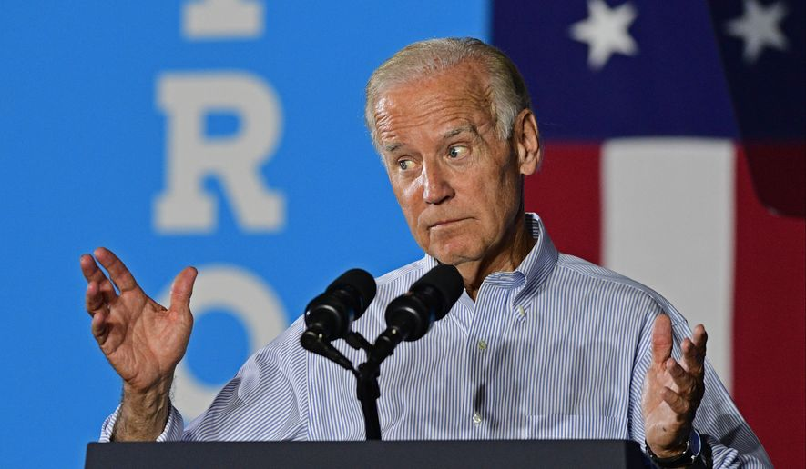 Vice President Joe Biden speaks at a campaign event for Democratic presidential candidate Hillary Clinton, Thursday, Sept. 1, 2016, in Cleveland. (AP Photo/David Dermer)