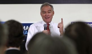 Democratic vice presidential candidate, Sen. Tim Kaine, D-Va. speaks during a campaign stop, Thursday, Sept. 1, 2016, in Dover, N.H. (AP Photo/Charles Krupa)