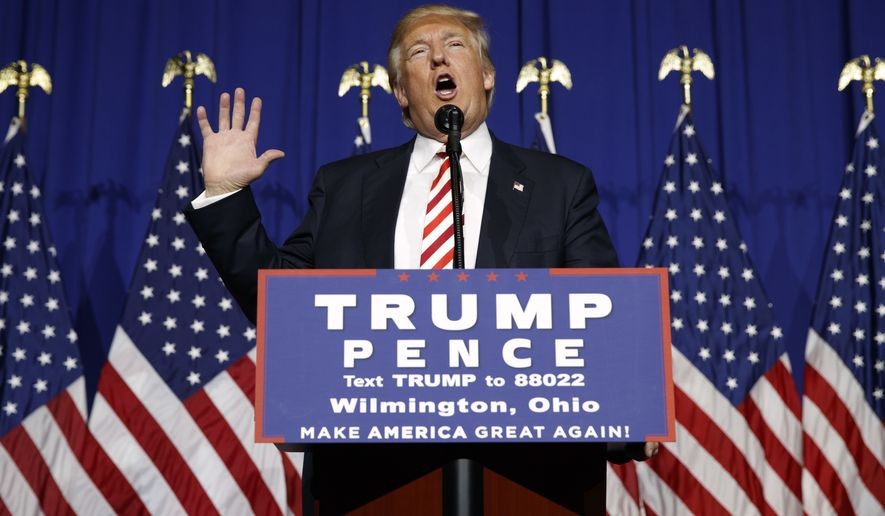 Republican presidential candidate Donald Trump speaks during a campaign rally, Thursday, Sept. 1, 2016, in Wilmington, Ohio. (AP Photo/Evan Vucci)