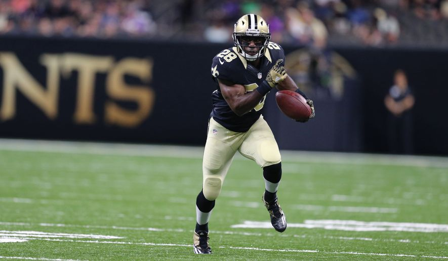 New Orleans Saints running back C.J. Spiller (28) carries in the first half of an NFL football pre-season game against the Baltimore Ravens in New Orleans, Thursday, Sept. 1, 2016. (AP Photo/Butch Dill) ** FILE **