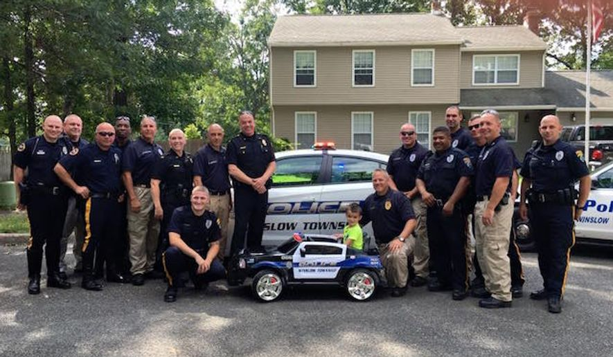 A group of Winslow Township police officers pitched in to buy a miniature motorized police cruiser for William Evertz Jr., a 5-year-old boy who used his allowance to buy them lunch last week. (Facebook/@Winslow Township Police Department)