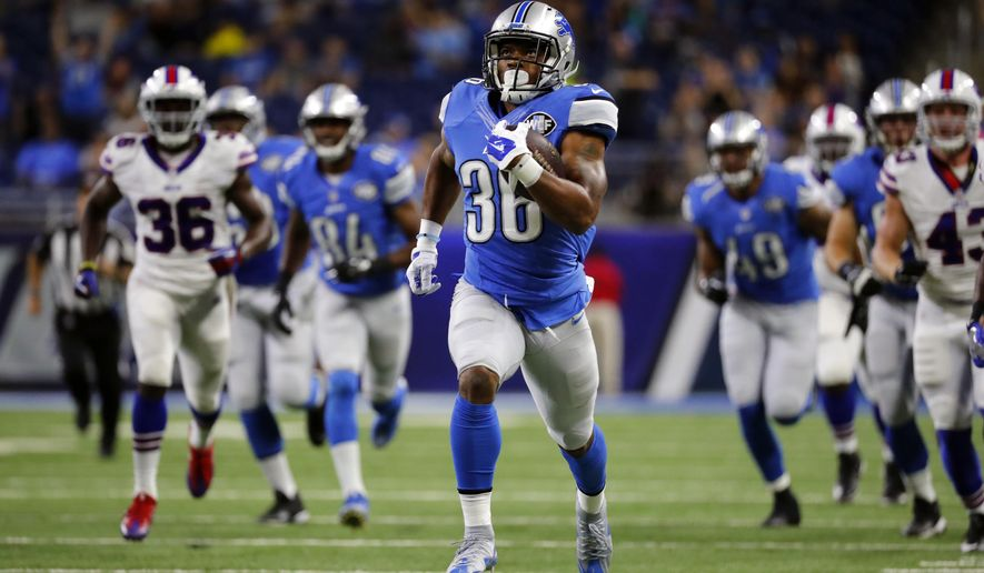 Detroit Lions running back Dwayne Washington runs for a 58-yard touchdown during the first half of NFL preseason football game against the Buffalo Bills, Thursday, Sept. 1, 2016, in Detroit. (AP Photo/Rick Osentoski)