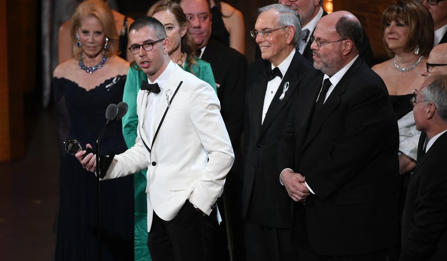 """FILE - In this June 12, 2016 file photo, playwright Stephen Karam accepts the Tony award for Best Play for """"The Humans"""" onstage at the Tony Awards in New York. For all next week, Broadway-goers not in the mood for a musical will have only one option. """"The Humans,"""" Karam's play about a fractious family's get-together, will be the only non-musical show on offer at any of the 40 Broadway theaters after the closing of """"The Curious Incident of the Dog in the Night-Time"""" on Sept. 4. (Photo by Evan Agostini/Invision/AP, File)"""