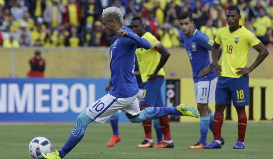 Brazil's Neymar scores from the penalty spot his side's first goal against Ecuador during a 2018 World Cup qualifying soccer match at the Atahualpa stadium in Quito, Ecuador, Thursday, Sept. 1, 2016. (AP Photo/Ricardo Mazalan)